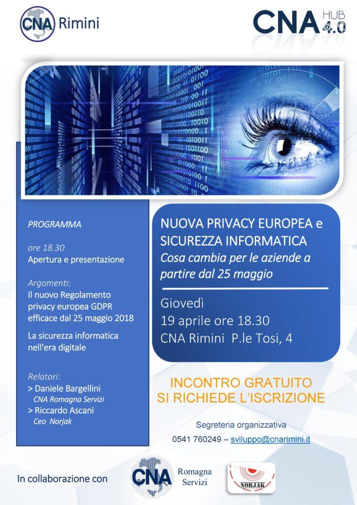 """Locandina dell'evento """"Nuova Privacy Europea e Sicurezza Informatica""""."""